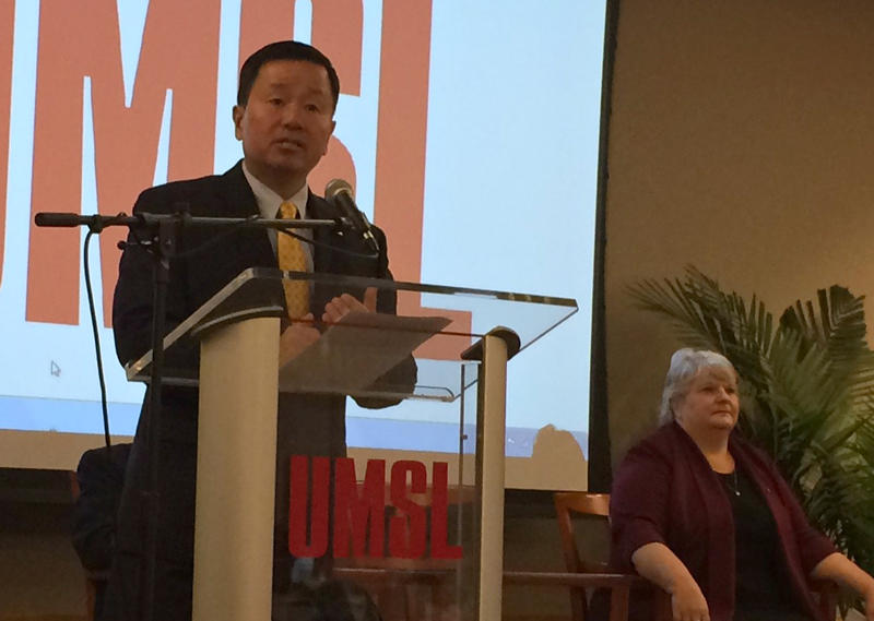 Incoming UM President Mun Choi speaks to a reception at UMSL Tuesday, 11-29-16