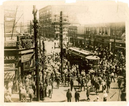 A mob stops a street car during the East St. Louis race riots, which started on July 2, 1917. An estimated 500 people were killed over the course of two days.