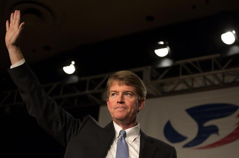 "Chris Koster thanks supporters at his November 2016 election night watch party at the Chase Park Plaza after conceding to Eric Greitens. Koster would have almost certainly vetoed ""right to work."""
