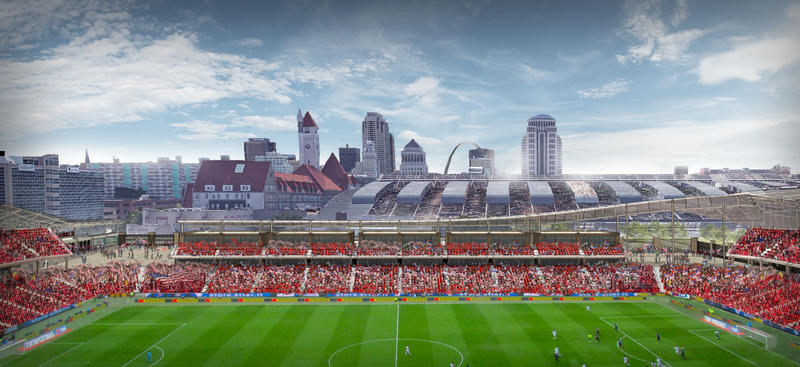 A rendering of the proposed St. Louis soccer stadium.