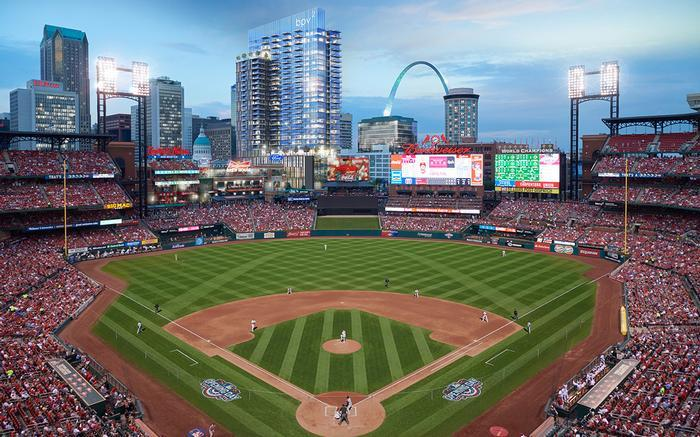 Artists' rendering of new apartment building and what it would look like from the Busch Stadium. The 29-story building is just part of Phase II of Ballpark Village.