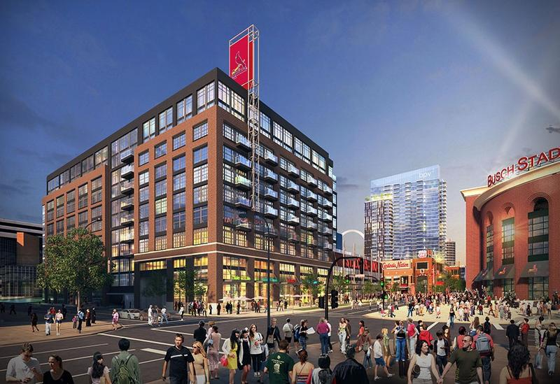 Phase II of Ballpark Village would include a new office building, shown here in an artists' rendering. A proposed 29-story luxury apartment building is shown in the background.