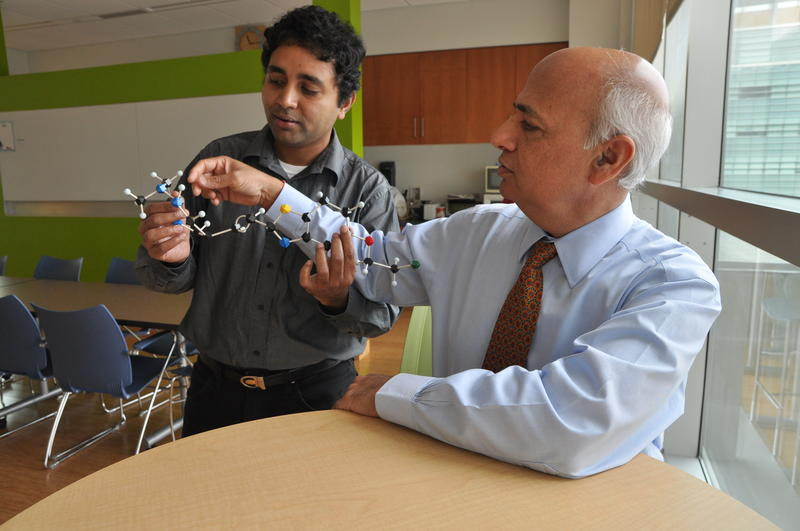 WashU biomedical scientist G.S.M Sundaram, PhD., holds a model of the molecule fluselenamyl, which may improve PET scans for patients with Alzheimer's disease. Senior author Vijay Sharma, PhD, sits to his right.