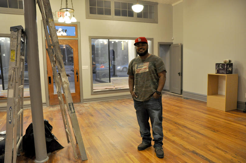 Calvin Payne, 44, stands in his newly leased space for CQ Custom Designs in the Grove neighborhood.  11/18/16