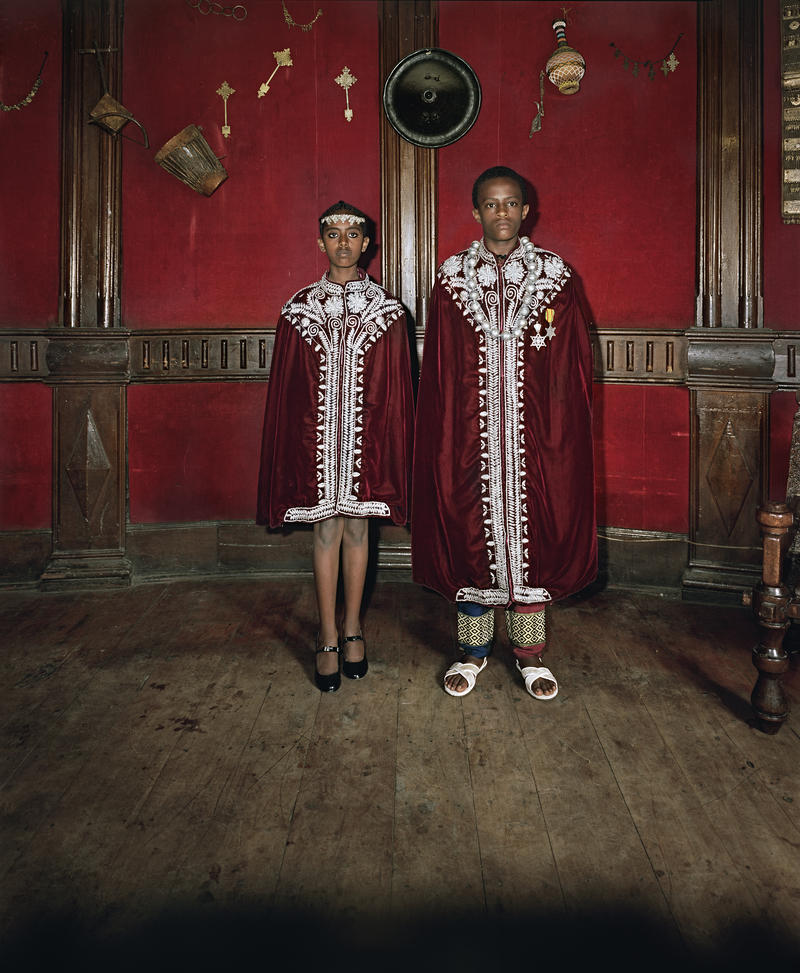 Deana Lawson, Kingdom Come, Addis Ababa, Ethiopia, 2015. Inkjet print, mounted on Sintra, 55 x 44 inches. Edition 1 of 3, with 2 APs. Courtesy the artist and Rhona Hoffman Gallery, Chicago.