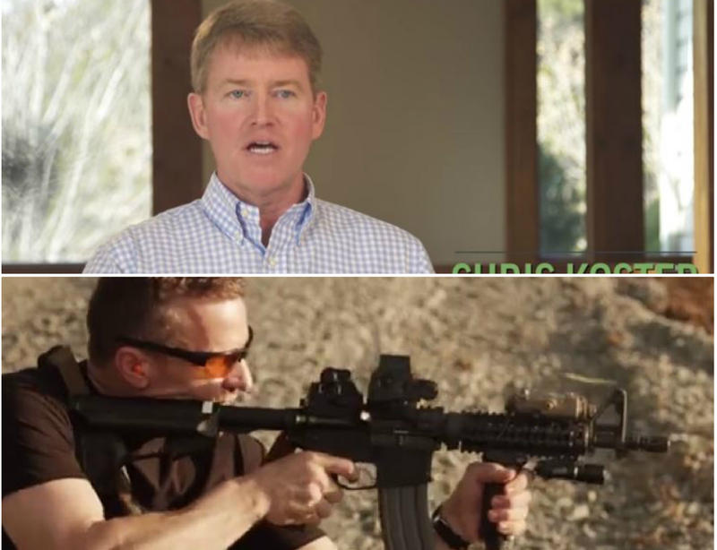 Screen captures from ads by Democrat Chris Koster, top, and Republican Eric Greitens