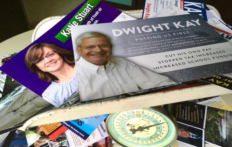 St. Louis Public Radio reporter Mary Delach Leonard weighed the postcards mailed to her home in Madison County by Ill. state representative candidates Dwight Kay (R) and Katie Stuart (D), 112th district. They weigh 4 1/2 pounds.