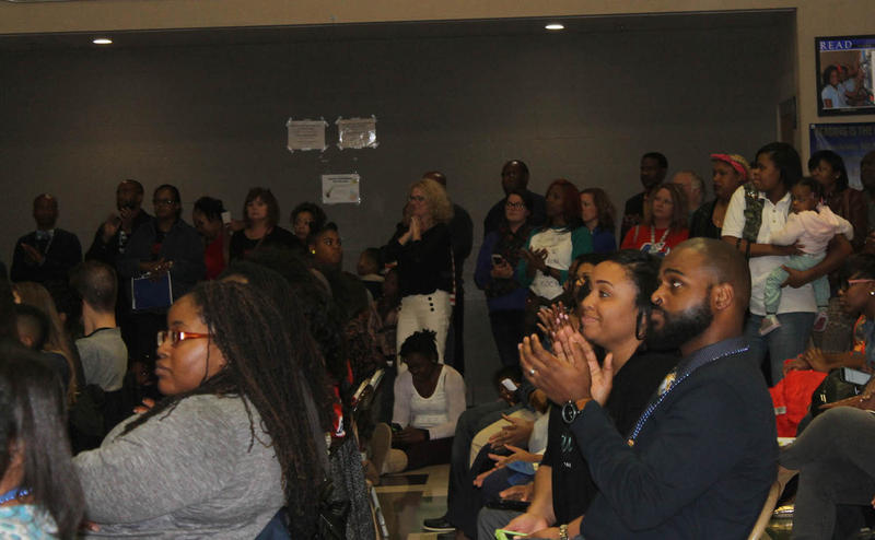 The crowded Westview Middle School cafeteria frequently burst into cheers at the state's public hearing on unaccredited Riverview Gardens Nov. 14, 2016.