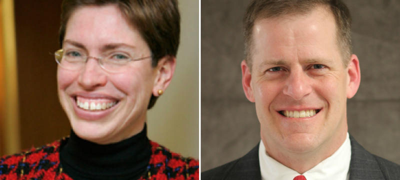 Democrat Sheila Simon and Republican Paul Schimpf