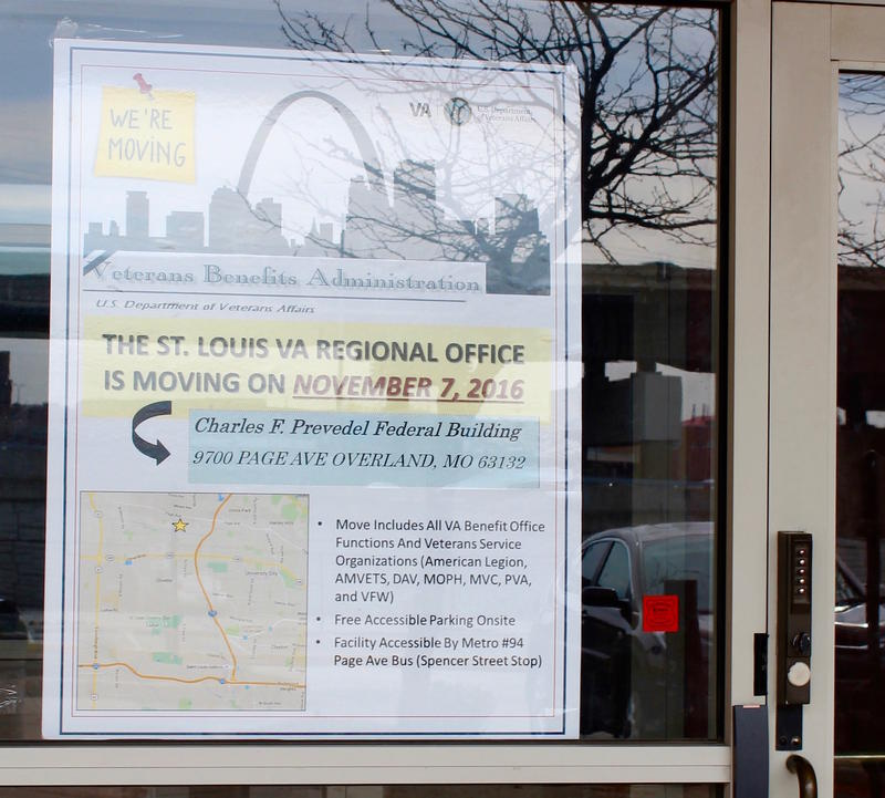 A sign in the window at the downtown office directs veterans to the new benefits office at 9700 Page Ave. in Overland on Monday, Nov. 7, 2016