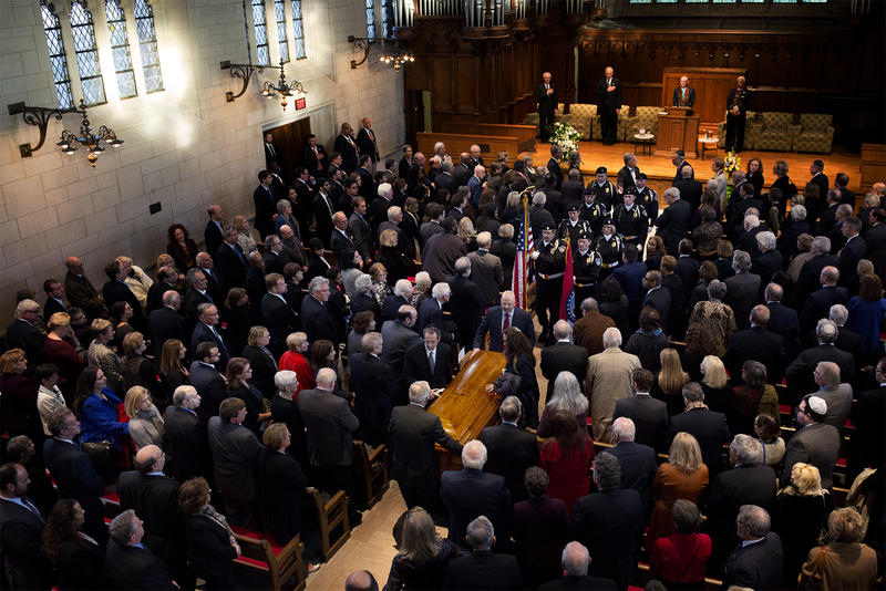 Hundreds gathered at Graham Chapel at Washington University to honor and remember Court judge Richard Teitelman on Dec. 1, 2016.