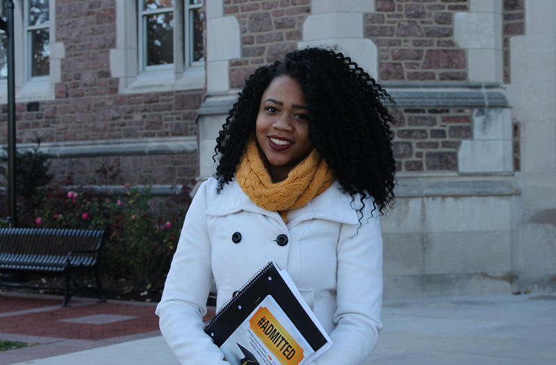 Kielah Harbert is studying business and African-American studies at Washington University. She co-wrote '#Admitted,' a college application guide for first generation students. She's standing outside Brookings Hall on December 2, 2016.