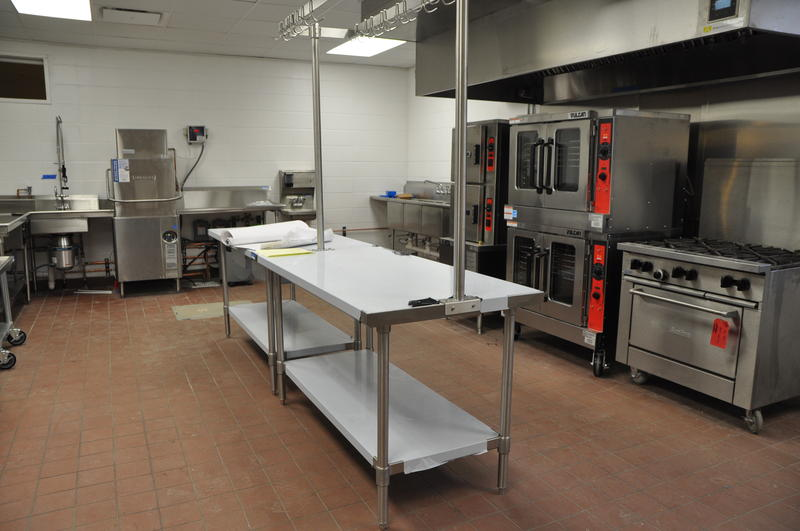 New appliances sit in the unfinished kitchen at the Ferguson Community Center.
