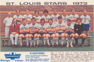 The 1972 St. Louis Stars played in the North American Soccer League championship, losing to New York.