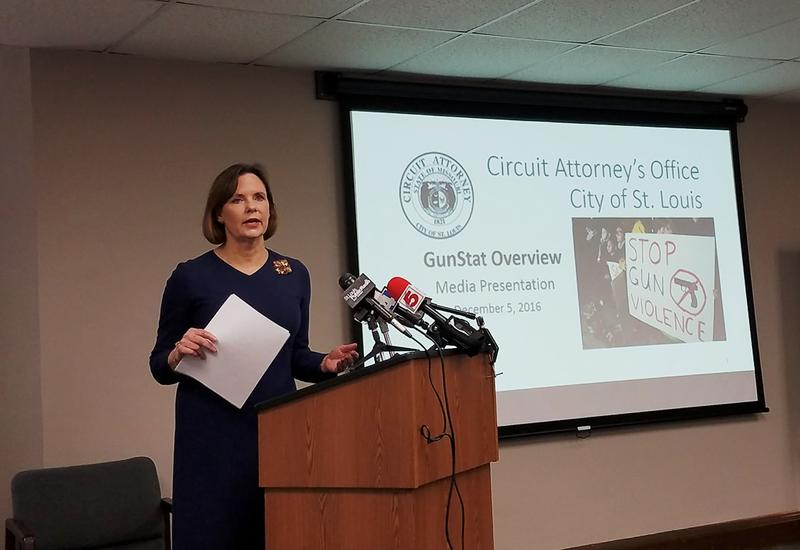 In this photo by Rachel Lippmann, St. Louis circuit attorney Jennifer Joyce updates members of the media on her strategies to reduce crime on Monday, December 5, 2016.