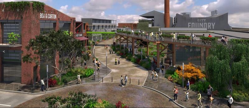 An artist's rendering of the City Foundry just east of IKEA. The four-phase development calls for a food hall, retail, office space and apartments.