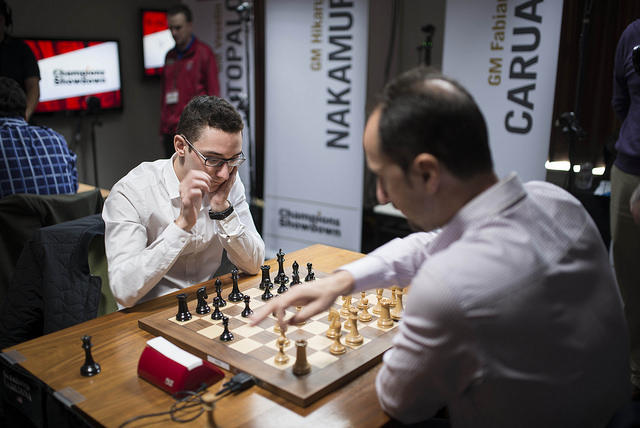 Fabiano Caruana and Veselin Topolov speed through a game at the recent Champion Showdown.