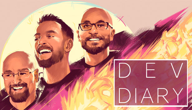 The Dev Diary movie poster features three smiling Coster brothers rendered in pinks and yellows.