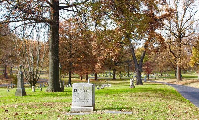 Dred Scott's grave is one of the most frequently visited graves at Calvary Cemetery. This photos was taken in November 2016.