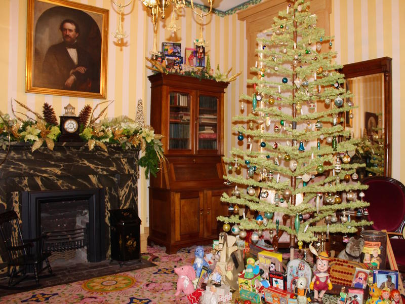 Holiday decorations in the parlor of the Field House include an 1870s Christmas tree made of goose feathers. December 2016.