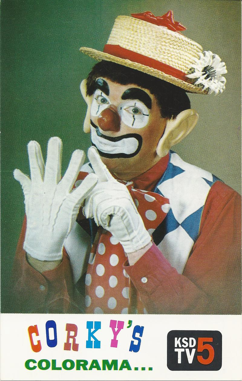 A KSD TV card advertising Corky's Colorama show the clown counting his fingers in a porkpie hat, red nose, and makeup