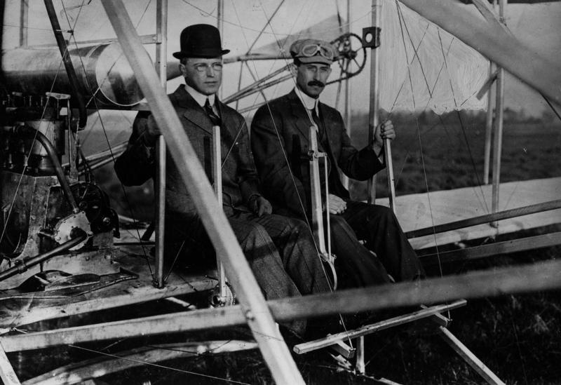 Albert Bond Lambert takes a ride with Orville Wright in 1910.