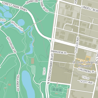 Road map of Forest Park and the Central West End in St. Louis, MO.