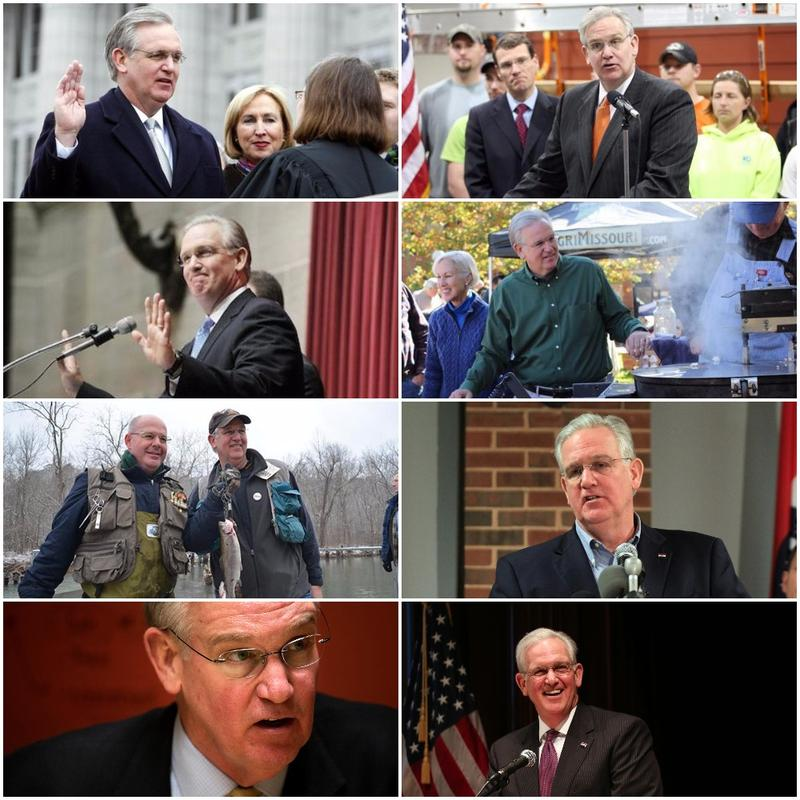 This collage includes pictures of Missouri Gov. Jay Nixon from every year of his tenure.