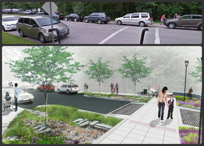 A comparison of improved crosswalks and additional sidewalks before and after the project on Government and Wells Drives.