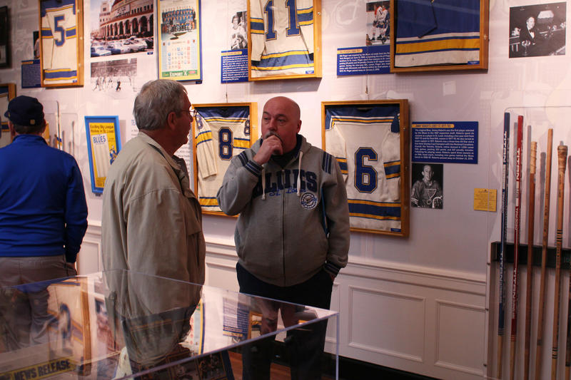 Allen Roth and Jerry Eastman both contributed objects to the St. Louis Blues memorabilia exhibit.