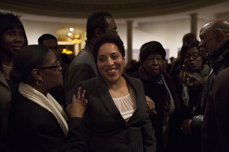 Supporters greet Circuit Attorney Kim Gardner after the swearing-in ceremony on Jan. 6, 2017.