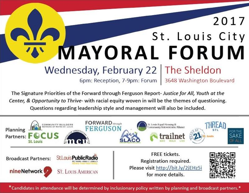 Join St. Louis on the Air and thirteen other community and media partners on Feb. 22 for a St. Louis City Mayoral Forum.