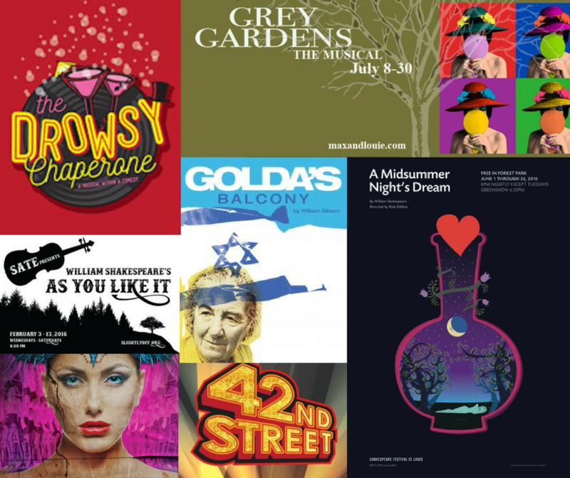 A selection of posters from the nominees for a 2017 St. Louis Theater Circle Award.
