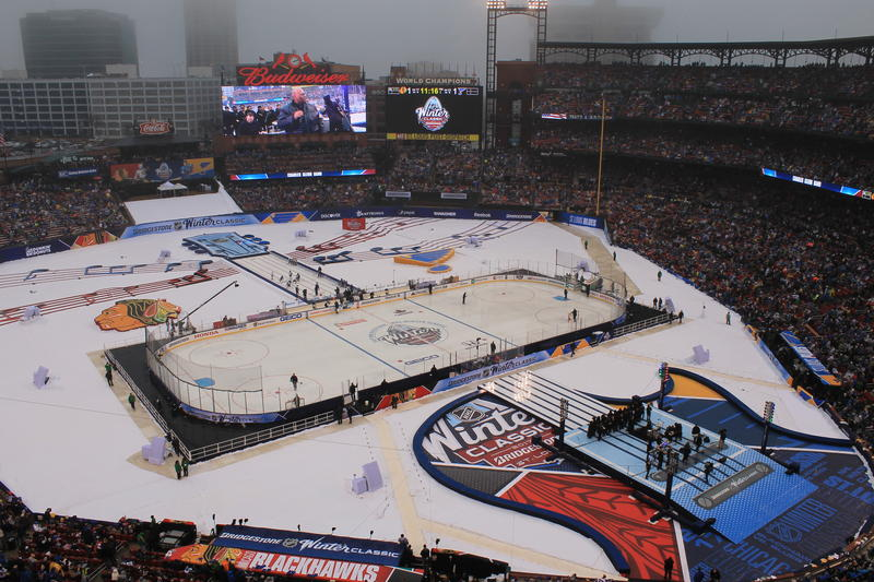 The field at Busch Stadium had a music theme to mark the Winter Classic between the Blues and Blackhawks on Jan. 2, 2017.