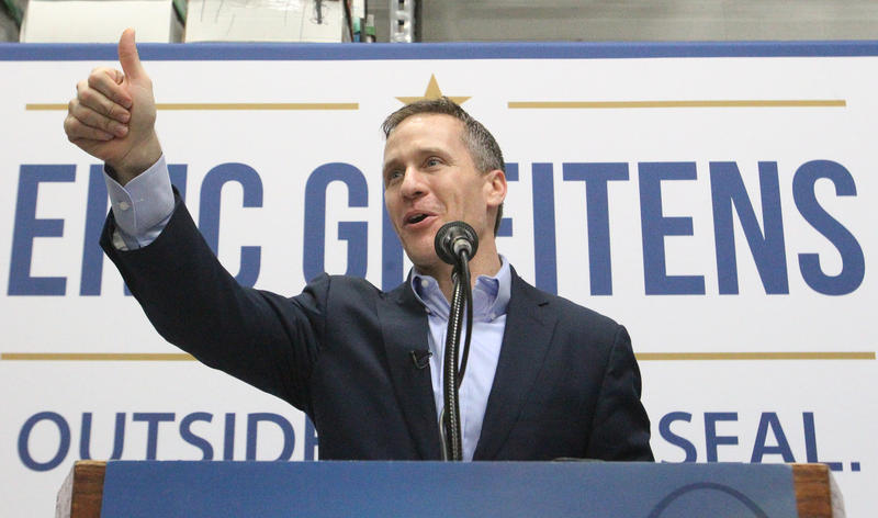 Missouri Gov-elect Eric Greitens offers a thumbs-up to supporters at his final 'thank you' rally, held in Maryland Heights Jan 7, 2017