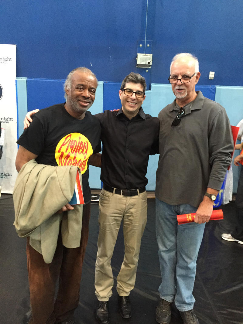 "Nathaniel Ayers, Adam Crane and Steve Lopez. Nathaniel Ayers is the man the movie ""The Soloist"" was inspired by."