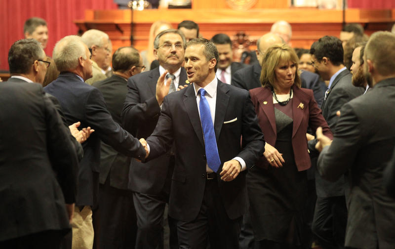 Missouri Gov. Eric Greitens is congratulated by legislators after delivering his first State of the State speech to the Missouri Legislature in the State Capitol in Jefferson City.