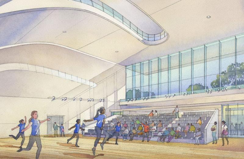 This artist's rendering shows a renovated studio space at COCA.