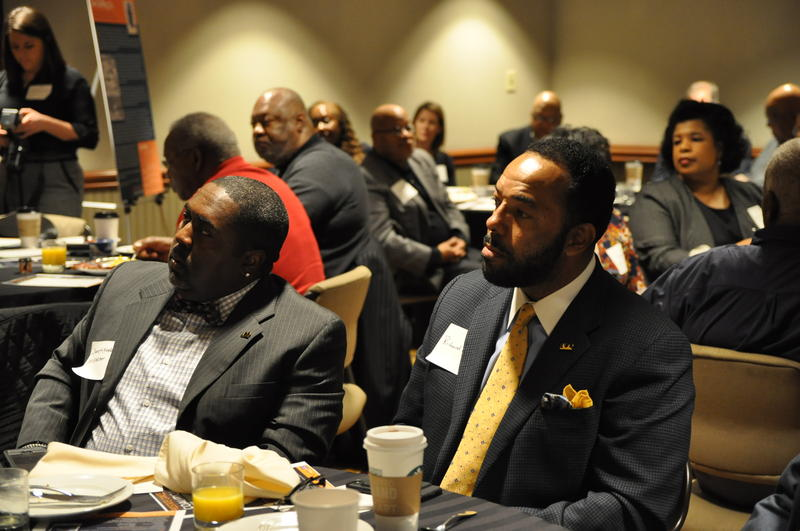 Physicians, clergy, and members of 100 Black Men gathered for a breakfast held by the Prostate Cancer Coalition.