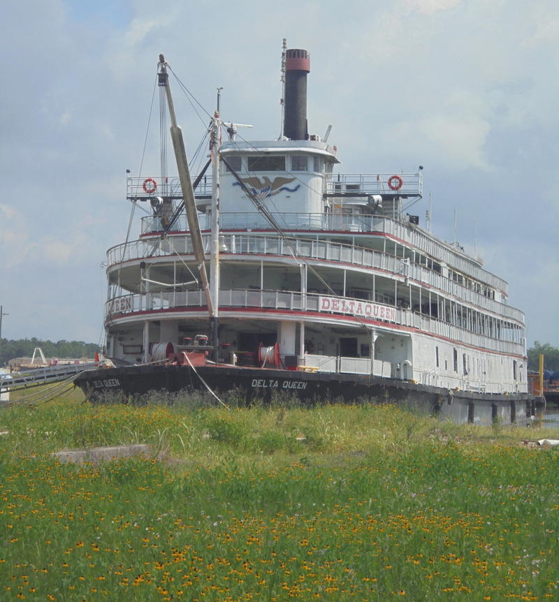 The Delta Queen is in dry dock in Houma, Louisana.