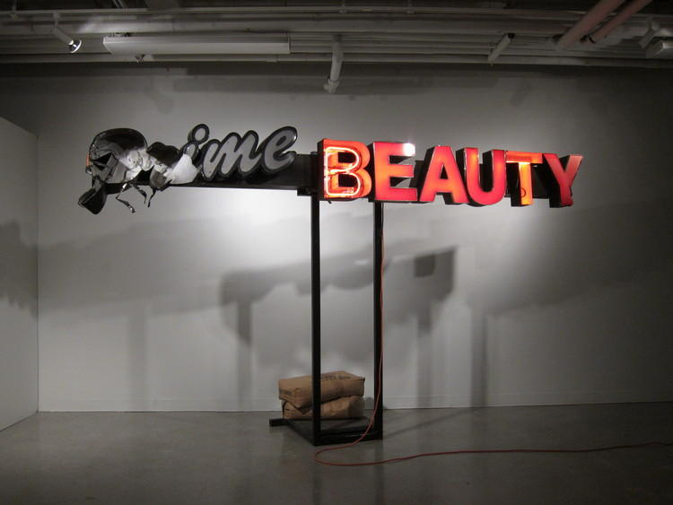 The Prime Beauty supply store sign that was salvaged from rubble after Ferguson related protests turned chaotic has been turned into a sculpture.