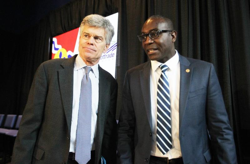St. Louis Blues Chairman Tom Stillman and Lewis Reed, president of the St. Louis Board of Aldermen, leave the stage after presenting their ideas for improvements to the Scottrade Center.