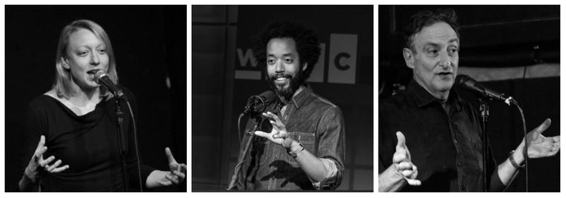 Paula Croxson, Wyatt Cenac and Ira Flatow share science-themed stories at a live Story Collider show.