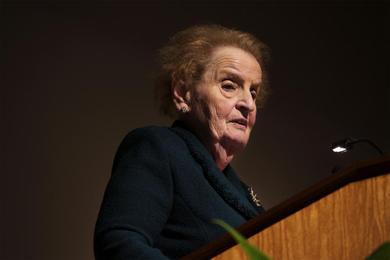 Former U.S. Secretary of State Madeleine Albright speaks to students about Middle East policy approaches at Nerinx Hall High School in Webster Groves.