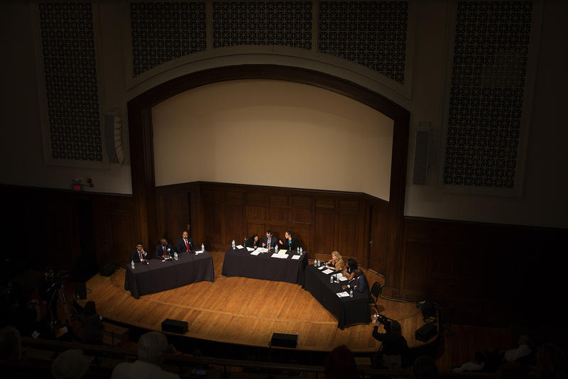 Six candidates for St. Louis mayor participate in a forum on Wednesday, Feb. 22, 2017.
