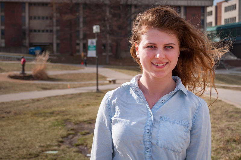 Tayler Leverenz, 19, is from Illinois, but is taking advantage of the University of Missouri-St. Louis' offering of in-state tuition for Illinois residents.