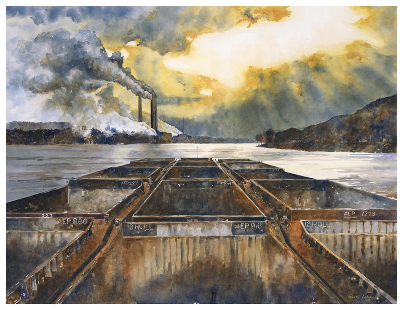 "Daven Anderson's ""Last Light"" captures life on a boat hauling 15 barges on the Ohio River at twilight."