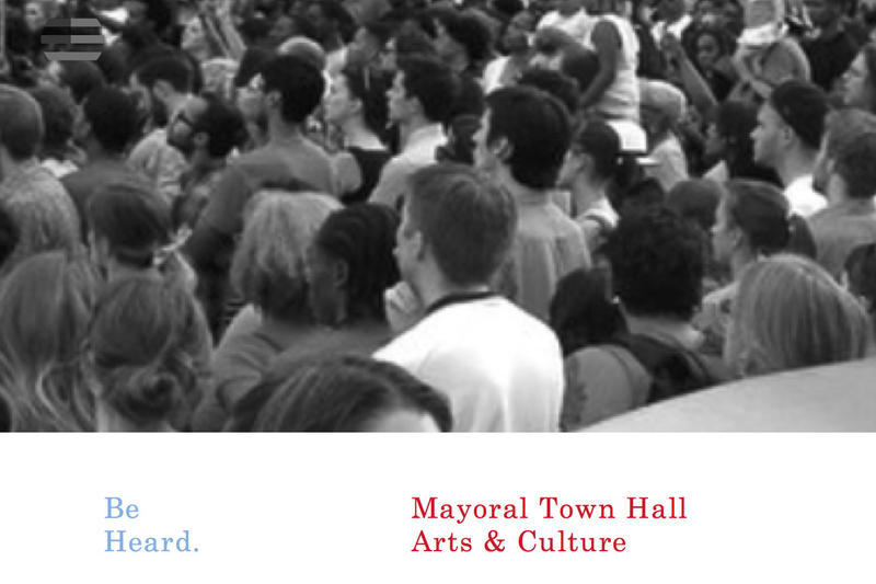 Event Flier for Mayoral Town Hall for Arts and Culture on February 27 depicts a mass of people and the dates.