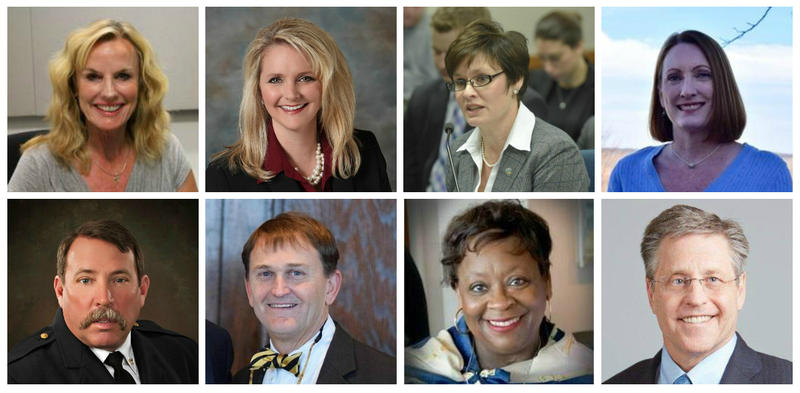 "Greitens' Cabinet appointees shown clockwise from top left: Sarah Steelman, Chris Chinn, Anne Precythe, Carol Comer, Joel Walters, Chlora Lindley-Myers, Randall Williams, Charles ""Drew"" Juden"