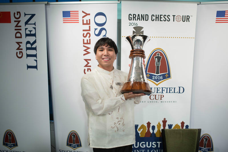 Wesley So with the Sinquefield Cup trophy, which is one of the many tournaments he won in 2016